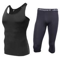 Mens Compression Baselayer Underwear Shirts 3/4 Cropped Pants Pants Leggings Gym