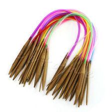 18Sizes 40cm Multicolor Tube Circular Carbonized Bamboo Knitting Needles 18Pacs