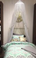Pottery Barn Canopy Drape White Sheer Curtain Bed Crown Netting New