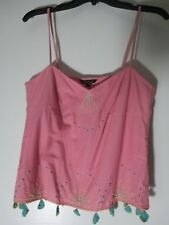 Tara Jarmon pink tank top blouse beads embroidered design size 40 europe New