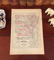 Original 1894 Antique Map ARKANSAS Fayetteville Jonesboro Conway Rogers Magnolia