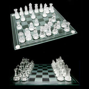 New Large Traditional Glass Chess Set Board Game 32 Frosted Pieces 30cm x 30cm