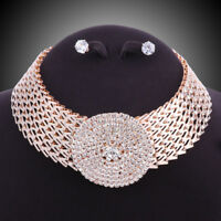 Women Gold/Silver Plated Round Rhinestone Necklace Earring Party Jewelry Sets