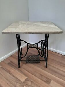 Bradbury Cast Iron Treadle Base Sewing Machine Table With Marble Top.