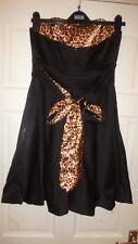Ladies Black Mix  Babydoll Dress Sleeveless Size UK 10 EU 38