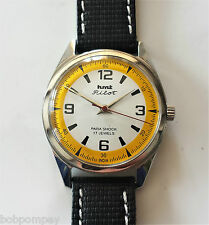 Vintage White/Yellow Face Hand Wind Wristwatch. HMT PILOT. Military Style.