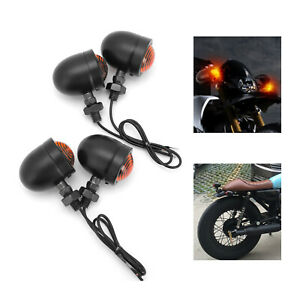 4x Motorcycle Motorbike Universal Turn Signal Indicators Light Lamp Bulb Black