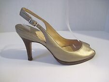 Cole Haan Women's Leather Bold Gold Peep Toe Slingback Heels Sz 6 1/2 B