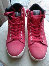 Crosshatch Trainers : High Top : Series 55 : Red : Canvas & Quilted : UK 9/43