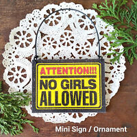 Mini Doorknob sign: ATTENTION NO GIRLS ALLOWED Boys Room DecoWords USA New