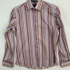 Dragonfly Mens Dress Shirt Medium Striped Pink Yellow Cuff Links Needed