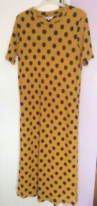 GORGEOUS MUSTARD AND BLACK NEXT DRESS SIZE 14 LINED