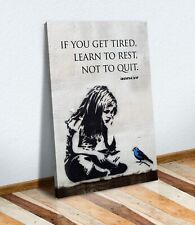 BANKSY GIRL BLUE BIRD QUOTE LEARN TO REST CANVAS WALL ART PRINT GRAFFITI PORT