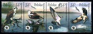 POLAND - 2003 WWF 'OSPREY' Strip of 4 MNH [B0704]
