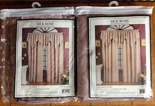 Silk Rose Curtain Panel & Ascot Valance Set Unused Faux Silk