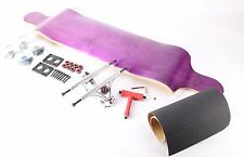 "41"" Blank Purple Drop Down Longboard with Clear wheels Complete Kit"
