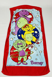 Vintage Barney Purple Dinosaur Baby Bop B.J. Beach Towel The Lyons Group 1994