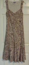 Per Una Ladies 100% Cotton Cream Brown Floral Dress Summer Holiday Size 12