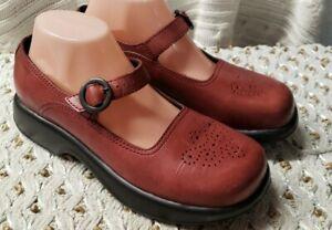 Dansko Womens Leather Mary Jane Comfort Shoes w/ Buckle Brick Red  Sz 40/9.5-10