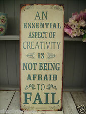 Vintage Retro Metal Plaque Not Afraid to Fail Inspirational Tin Wall Sign