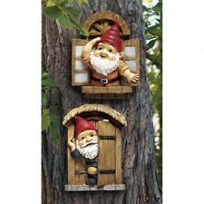 Set of 2: Door & Window Gnome Garden Welcome Tree Sculpture Woodland