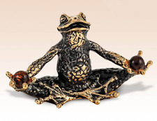 Frog Yogi amber Miniature Bronze Figurine sculpture art manual processing rare