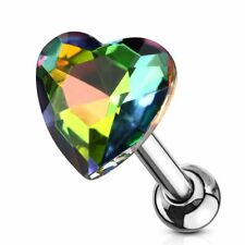 Crystal Stained Glass Way Piercing Cartilage Helix Heart