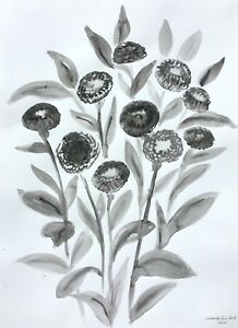 """watercolor ink wash flowers painting on paper original from artist signed 22x30"""""""