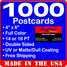 1000 Custom Full Color 4x6 Postcards w/UV Glossy - Real Printing + Free Shipping
