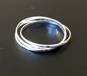 Sterling Silver 3 Interlocking Stackable Stack Russian Wedding Band 56789 10 12