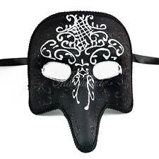 Medieval Plague Doctor Venetian Masquerade Mask w/ White Details for Men [Black]