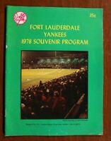 Fort Lauderdale Yankees 1978 Program New York Minor League Baseball Florida