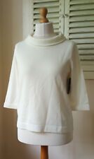 BNWT Pure Collection 100% Cashmere Soft Ivory Wide Funnel Neck Jumper (Size 12)