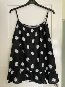 Ladies Black Daisy Camisole Top New Without Tags 5xl To Fit Size 20-22