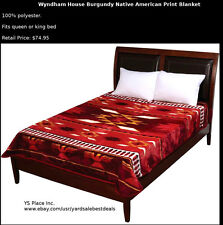 Wyndham House Red Burgundy Native American Luxury Soft Blanket Queen King Size