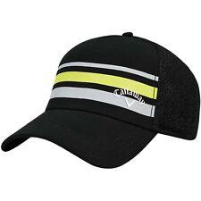Callaway Golf Mesh Fitted Striped Hat Cap Black Yellow Small / Medium NEW