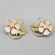 1950s Unsigned Coro Style Pink Enamel Gold Tone Floral Earrings
