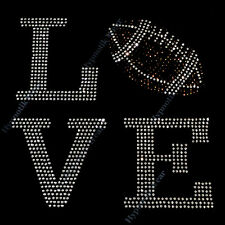 "Rhinestone Transfer "" Love Football "" Iron On, Hotfix , Bling Mom, Touch Down"