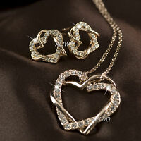 9K GF GOLD MADE WITH SWAROVSKI CRYSTAL NECKLACE STUD EARRINGS WEDDING HEART SET