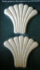 "Embossed Scalloped Fan Design Wood- Onlay -3"" x 2.75""- Pair of 2 Hardwood"