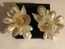 White Stone Clip On Earrings