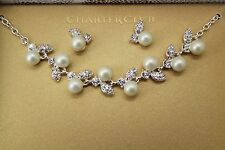 Charter Club Silver-Tone Imitation Pearl Crystal Collar Necklace & Earrings Set