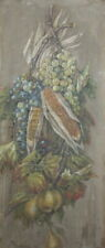 Antique oil painting still life corn, grape and pears