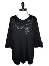 QUACKER FACTORY Plus Size 1X Shirt Top Black Rhinestones 3/4 Sleeve