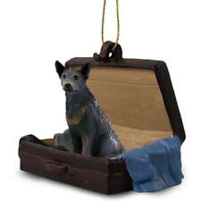 Australian Cattle Dog Blu Traveling Companion Dog Figurine In Suit Case Ornament