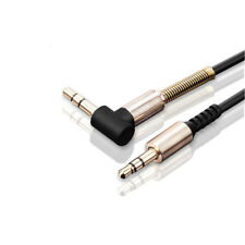 3.5mm Male to M Aux Cable Cord L-Shaped Right Angle Car Audio Headphone Jack Blk