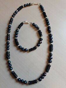 Black Pearl & Black Spinel Necklace and Bracelet Set