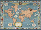 "Vintage World Map Famous Flights CANVAS PRINT 24""X16"" Detailed Poster"