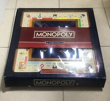 MONOPOLY LUXURY EDITION Adult Collectible Two Toned Wood & Built-in Bankers Tray