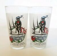 Set of 2 VTG 1990 Kentucky Derby Mint Julep Drinking Glasses Churchill Downs 116